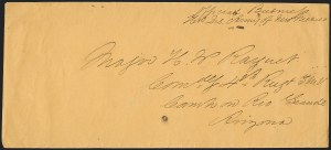 Sale Number 1189, Lot Number 1085, Civil War and Confederate Arizona1861 December--Confederate Military Express from Fort Bliss, Texas, to Camp Willow Bar, 1861 December--Confederate Military Express from Fort Bliss, Texas, to Camp Willow Bar