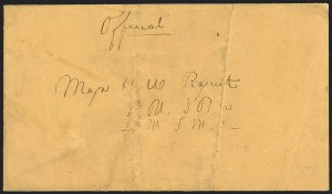 Sale Number 1189, Lot Number 1087, Civil War and Confederate Arizona1862 January 29-February 13--C.S.A. Military Express to Major Henry W. Raguet, 1862 January 29-February 13--C.S.A. Military Express to Major Henry W. Raguet