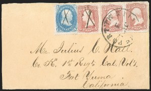 Sale Number 1189, Lot Number 1094, Civil War and Confederate Arizona1862 July--Vedette Mail from Los Angeles to Tucson via Fort Yuma, 1862 July--Vedette Mail from Los Angeles to Tucson via Fort Yuma
