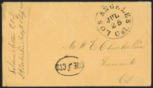 Sale Number 1189, Lot Number 1100, Civil War and Confederate Arizona1863 July 21--Vedette Mail from Tucson to Los Angeles via Fort Yuma, U.S. Mail to Sacramento, 1863 July 21--Vedette Mail from Tucson to Los Angeles via Fort Yuma, U.S. Mail to Sacramento