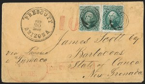 Sale Number 1189, Lot Number 1166, Arizona Territory Post Offices, cont.Prescott to Barbacoas, New Granada (Colombia), Prescott to Barbacoas, New Granada (Colombia)