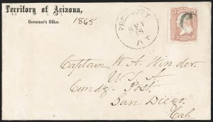 "Sale Number 1189, Lot Number 1168, Arizona Territory Post Offices, cont.""Prescott AT Sep. 18"" (1865), ""Prescott AT Sep. 18"" (1865)"