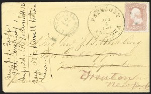 "Sale Number 1189, Lot Number 1173, Arizona Territory Post Offices, cont.""Prescott Arizona Aug. 4, 1867, ""Prescott Arizona Aug. 4, 1867"