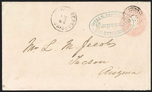 Sale Number 1189, Lot Number 1178, Arizona Territory Post Offices, cont.1867 November--Wells, Fargo & Co. Way Mail to Tucson, 1867 November--Wells, Fargo & Co. Way Mail to Tucson