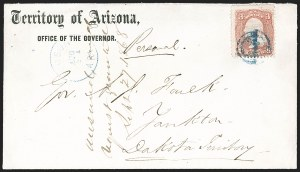 "Sale Number 1189, Lot Number 1179, Arizona Territory Post Offices, cont.""Tucson Ari. Aug. 21"" (1868), ""Tucson Ari. Aug. 21"" (1868)"