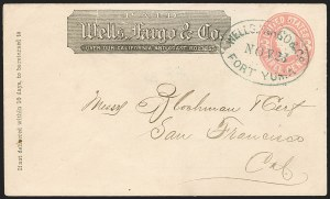 "Sale Number 1189, Lot Number 1191, Arizona Territory Post Offices, cont.""Wells, Fargo & Co. Fort Yuma Nov. 23"" (1865), ""Wells, Fargo & Co. Fort Yuma Nov. 23"" (1865)"