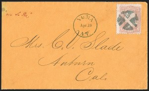 "Sale Number 1189, Lot Number 1198, Arizona Territory Post Offices, cont.""Yuma A.T. Apr. 19"" (1868)--Termination of Military Express, ""Yuma A.T. Apr. 19"" (1868)--Termination of Military Express"