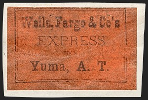 Sale Number 1189, Lot Number 1200, Arizona Territory Post Offices, cont.Wells, Fargo & Co's Express from Yuma, A.T, Wells, Fargo & Co's Express from Yuma, A.T