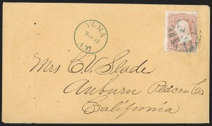 "Sale Number 1189, Lot Number 1201, Arizona Territory Post Offices, cont.""Yuma A.T. Nov. 12"" (1867), ""Yuma A.T. Nov. 12"" (1867)"