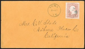 "Sale Number 1189, Lot Number 1203, Arizona Territory Post Offices, cont.""Yuma A.T. June 7"" (1868), ""Yuma A.T. June 7"" (1868)"