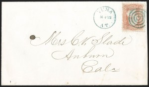"Sale Number 1189, Lot Number 1204, Arizona Territory Post Offices, cont.""Yuma A.T. Mar. 22"" (1869), ""Yuma A.T. Mar. 22"" (1869)"