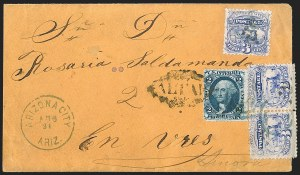 Sale Number 1189, Lot Number 1208, Arizona Territory Post Offices, cont.3¢ Ultramarine (114), 3¢ Ultramarine (114)