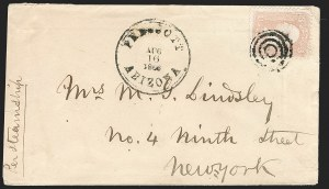 "Sale Number 1189, Lot Number 1210, Arizona Territory Post Offices, cont.""Prescott Arizona Aug. 16, 1866"", ""Prescott Arizona Aug. 16, 1866"""
