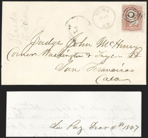 "Sale Number 1189, Lot Number 1212, Arizona Territory Post Offices, cont.""La Paz Arizona Dec. 4"" (1867), ""La Paz Arizona Dec. 4"" (1867)"