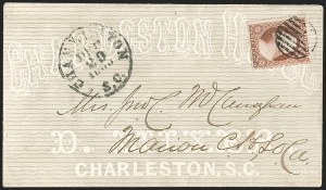 Sale Number 1190, Lot Number 1302, Independent and Confederate State Use of U.S. StampsCharleston S.C. Dec. 29, 1860, Charleston S.C. Dec. 29, 1860