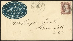 Sale Number 1190, Lot Number 1303, Independent and Confederate State Use of U.S. StampsCharleston S.C. Jan. 10, 1861, Charleston S.C. Jan. 10, 1861