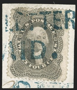 Sale Number 1190, Lot Number 1326, Southern Letter Unpaid (off-cover stamps)24c Gray Lilac (37), 24c Gray Lilac (37)
