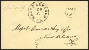 Sale Number 1190, Lot Number 1329, Handstamped Paid and Due MarkingsMount Lebanon La. Feb. 4 (1862), Mount Lebanon La. Feb. 4 (1862)