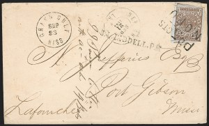 Sale Number 1190, Lot Number 1332, Postmasters' ProvisionalsNew Orleans La., 5c Red Brown on Bluish (62X4), New Orleans La., 5c Red Brown on Bluish (62X4)