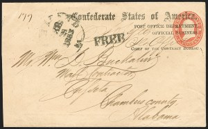 Sale Number 1190, Lot Number 1423, C.S.A. Post Office Department ImprintsPost Office Department, Official Business, Chief of the Contract Bureau (CON-06), Post Office Department, Official Business, Chief of the Contract Bureau (CON-06)