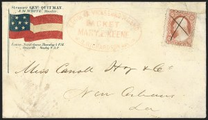 Sale Number 1190, Lot Number 1457, Patriotics–Independent and Confederate State Use of U.S. StampsRegular Vicksburg & Bend/ Packet/ Mary E. Keene./ W.B. Richardson Master, Regular Vicksburg & Bend/ Packet/ Mary E. Keene./ W.B. Richardson Master