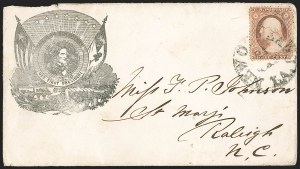 Sale Number 1190, Lot Number 1458, Patriotics–Independent and Confederate State Use of U.S. StampsNew Orleans 21 Mar. (1861), New Orleans 21 Mar. (1861)