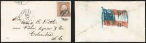 Sale Number 1190, Lot Number 1460, Patriotics–Independent and Confederate State Use of U.S. StampsCharleston S.C. Mar. 30, 1861, Charleston S.C. Mar. 30, 1861
