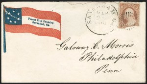 Sale Number 1190, Lot Number 1461, Patriotics–Independent and Confederate State Use of U.S. StampsSavannah Ga. Mar. 2?, 1861, Savannah Ga. Mar. 2?, 1861
