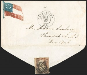 Sale Number 1190, Lot Number 1462, Patriotics–Independent and Confederate State Use of U.S. StampsCharleston S.C. Mar. 30, 1861, Charleston S.C. Mar. 30, 1861