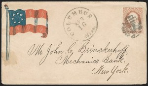 Sale Number 1190, Lot Number 1464, Patriotics–Independent and Confederate State Use of U.S. StampsColumbus Miss. Apr. 16 (1861), Columbus Miss. Apr. 16 (1861)