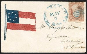 Sale Number 1190, Lot Number 1472, Patriotics–Independent and Confederate State Use of U.S. StampsPetersburg Va. 3cts. May 7 (1861) -- First Day of Virginia Confederate Statehood, Petersburg Va. 3cts. May 7 (1861) -- First Day of Virginia Confederate Statehood