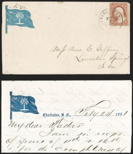 Sale Number 1190, Lot Number 1473, Patriotics–Independent and Confederate State Use of U.S. StampsCharleston S.C. May 7, 1861, Charleston S.C. May 7, 1861