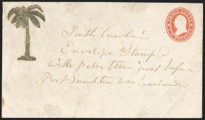Sale Number 1190, Lot Number 1474, Patriotics–Independent and Confederate State Use of U.S. StampsSouth Carolina Palmetto Tree Patriotic (FSC-5), South Carolina Palmetto Tree Patriotic (FSC-5)