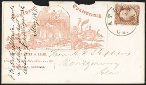 Sale Number 1190, Lot Number 1475, Patriotics–Independent and Confederate State Use of U.S. StampsAtlanta Ga. May 8, 1861, Atlanta Ga. May 8, 1861
