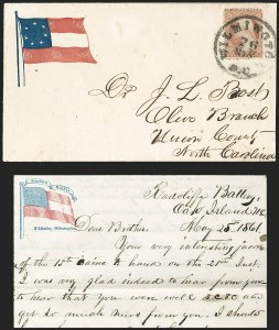 Sale Number 1190, Lot Number 1484, Patriotics–Independent and Confederate State Use of U.S. StampsWilmington N.C. 26 May (1861), Wilmington N.C. 26 May (1861)