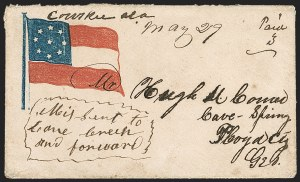 Sale Number 1190, Lot Number 1487, Patriotics–Independent and Confederate State Use of U.S. Stamps,