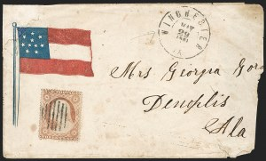 Sale Number 1190, Lot Number 1488, Patriotics–Independent and Confederate State Use of U.S. StampsWinchester Va. May 29, 1861, Winchester Va. May 29, 1861