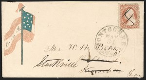 Sale Number 1190, Lot Number 1489, Patriotics–Independent and Confederate State Use of U.S. StampsMontgomery Ala. May 31, 1861 -- Last Day Federal Postage Stamps Were Accepted in Seceded States, Montgomery Ala. May 31, 1861 -- Last Day Federal Postage Stamps Were Accepted in Seceded States