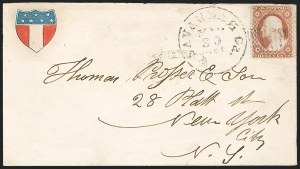 Sale Number 1190, Lot Number 1490, Patriotics–Independent and Confederate State Use of U.S. StampsSavannah Ga. May 30, 1861, Savannah Ga. May 30, 1861