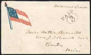 "Sale Number 1190, Lot Number 1492, Patriotics–Independent and Confederate State Use of U.S. Stamps""PAID 3"", ""PAID 3"""