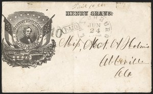 Sale Number 1190, Lot Number 1528, Patriotics–Handstamped Paid and Due Markings: Davis-Stephens and Davis MedallionsLynchburg Va. Jun. 24, 1861, Lynchburg Va. Jun. 24, 1861