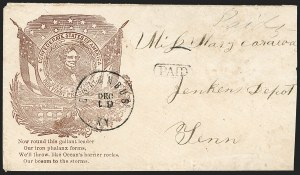 Sale Number 1190, Lot Number 1545, Patriotics–Handstamped Paid and Due Markings: Davis-Stephens and Davis MedallionsColumbus Ky. Dec. 19 (1861), Columbus Ky. Dec. 19 (1861)