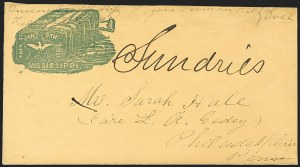 Sale Number 1190, Lot Number 1552, Patriotics–Handstamped Paid and Due Markings: State & Allegorical Designs,
