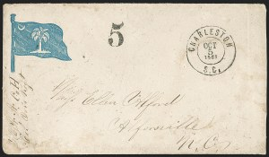 Sale Number 1190, Lot Number 1553, Patriotics–Handstamped Paid and Due Markings: State & Allegorical DesignsCharleston S.C. Oct. 5, 1861, Charleston S.C. Oct. 5, 1861