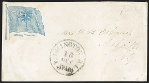 Sale Number 1190, Lot Number 1554, Patriotics–Handstamped Paid and Due Markings: State & Allegorical DesignsWilmington N.C. 5 Paid 16 Oct (1861), Wilmington N.C. 5 Paid 16 Oct (1861)