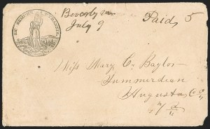 Sale Number 1190, Lot Number 1555, Patriotics–Handstamped Paid and Due Markings: State & Allegorical Designs,