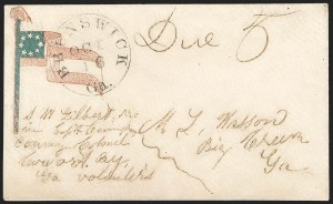 Sale Number 1190, Lot Number 1571, Patriotics–Handstamped Paid and Due Markings: 7-Star thru 9-Star Flag DesignsBrunswick Ga. Oct. 16, Brunswick Ga. Oct. 16