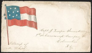 Sale Number 1190, Lot Number 1573, Patriotics–Handstamped Paid and Due Markings: 7-Star thru 9-Star Flag DesignsArkansas to Columbus Ky, Arkansas to Columbus Ky