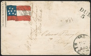 Sale Number 1190, Lot Number 1574, Patriotics–Handstamped Paid and Due Markings: 7-Star thru 9-Star Flag DesignsMemphis Ten. Oct. 2?, 1861, Memphis Ten. Oct. 2?, 1861