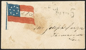 Sale Number 1190, Lot Number 1579, Patriotics–Handstamped Paid and Due Markings: 7-Star thru 9-Star Flag DesignsQuincy Flor. Oct. 20 (1861), Quincy Flor. Oct. 20 (1861)